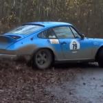 Porsche en glisse sur les feuilles mortes