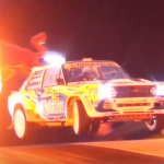 Une Fiat Abarth 131 en plein saut