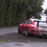 La Porsche 997 GT3 en glisse pendant les essais