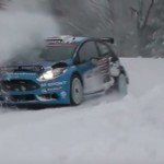 La Ford Fiesta R5 de Evans sur la neige
