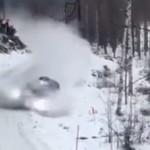 La Ford Fiesta WRC dans un mur de neige